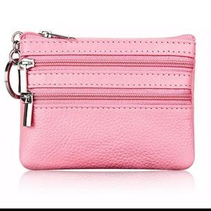 Pink Soft Faux Leather 3 Zip Keychain Pouch